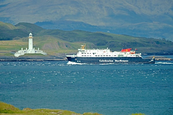 Cal Mac ferry passing The Lismore Lighthouse